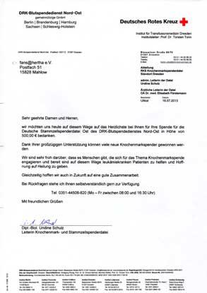 Deutsches Rotes Kreuz - Dankschreiben
